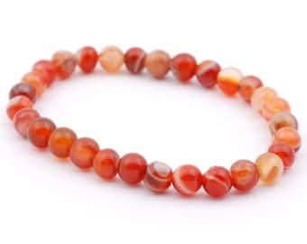 Red Agate Striped Bracelet 8mm, Stretch Gemstone Handmade Energy Bracelet,Unisex Women Men Bracelet, Beaded Bracelet,Spiritual Protection