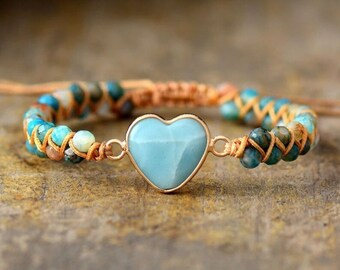 Amazonite Heart Stone Braided Bracelet-Natural Heart Gemstone-Stress Relief Bracelet-Spiritual Healing Bracelet-Amazonite Love Bracelet