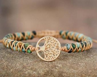 Natural Stone Healing Bracelet-Tree Of Life African Jasper Bracelet-Beaded Friendship Bracelet-Calming Balance Meditation Bracelet