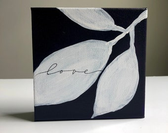 Love  - purple with white leaves mono-line calligraphy, small canvas painting, 5x5