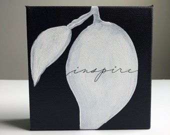 Inspire  - purple with white leaves mono-line calligraphy, small canvas painting, 5x5