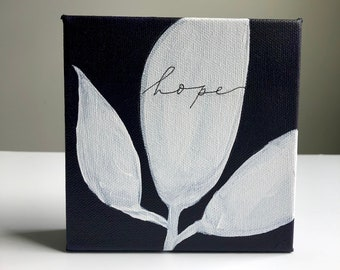 Hope  - purple with white leaves mono-line calligraphy, small canvas painting, 5x5
