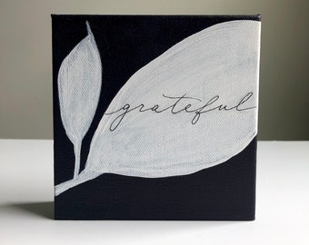 Grateful  - purple white leaves mono-line calligraphy, small canvas painting, 5x5