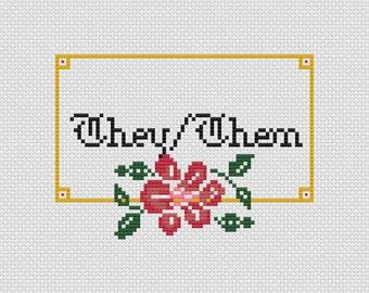They/Them Pronouns Cross Stitch Pattern