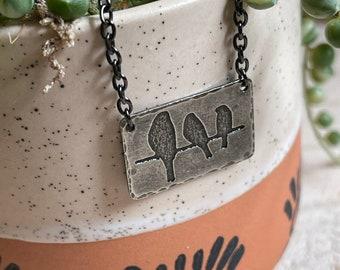 Birds Necklace - Nickel Silver