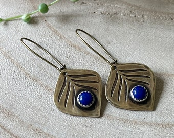 Brass and Lapis Peacock Feather Earrings