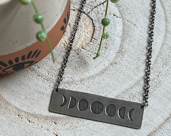 Moon Phases Necklace - Nickel Silver