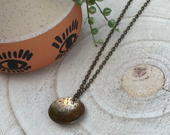Full Moon Textured Brass Necklace