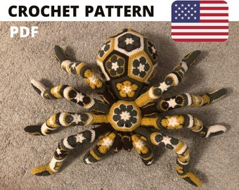 Pattern crochet giant spider tarantula african flower pdf toy kids big birthday gift idea English USA