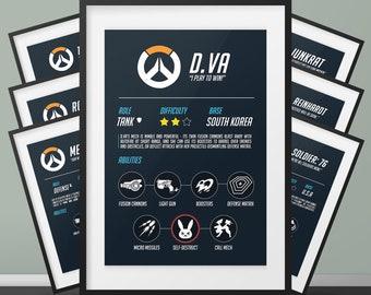 Overwatch Battlecard Print | Hero Battlecard | Leyla Prints | Illustration Print | For Him, For Her