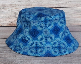 Bucket Hat - Blue Tie dye, Reversible Hat, Cotton Hat, Denim Hat, Funky, Fun, Beach Hat, Sun Hat, Boho Hat, Hippie Hat, Unisex, One Size Hat