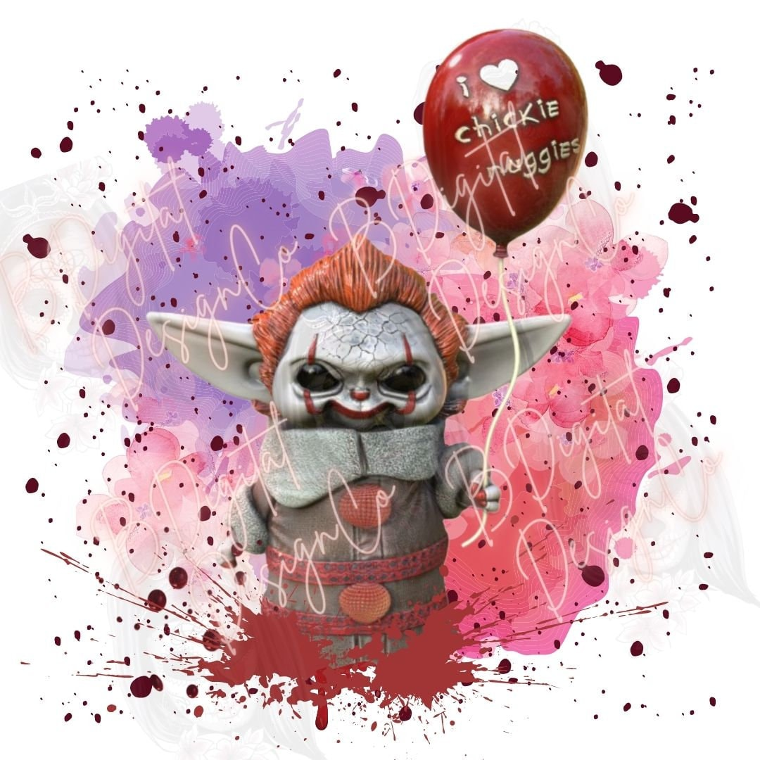 Baby Yoda horror Pennywise Halloween PNG digital design sublimation