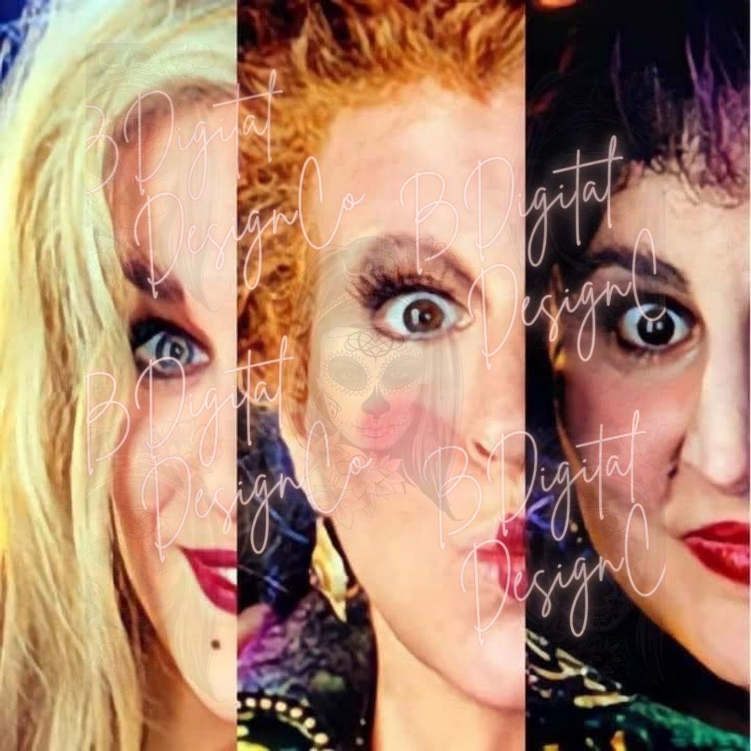 DIGITAL DOWNLOAD Hocus Pocus Inspired Sanderson Sisters Side By Side Style Design png jpg