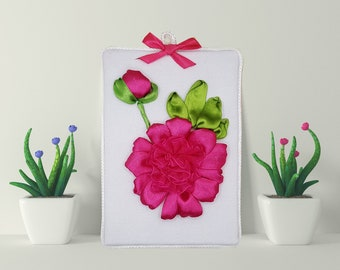 Hand Embroidered Peony Floral Embroidery Art, Modern 3D Embroidery picture, Original Small 3D Wall Ornament Decoration