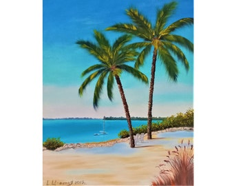 Palm Painting Ocean Original Art Tree Artwork Coastal Decor Wall Art Oil Canvas 16 by 20
