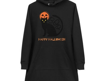 Halloween Dress with Hood, Autumn Sweater for Women with Pumpkin, with Black Cat, Hoodie Dress, Happy Halloween, Happy Halloween