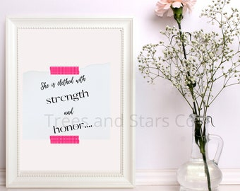Strength and Honor Proverbs 31 Scripture Printable