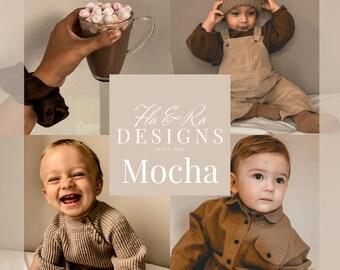 Mocha Presets - 4 Adobe Lightroom, boho, warm, brown, Instagram, vsco presets