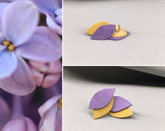 Tiny Stainless steel stud earrings leather leaves, stainless steel jewelry, Sensitive Skin, gifts for her, Hypoallergenic, elegant earrings