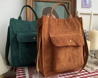 Corduroy Shoulder Bag, Handbag, Girls Student Bookbag, Shoulder Messenger Bag, Tote Bag For Shopping, Corduroy Bag, zipper crossbody bag