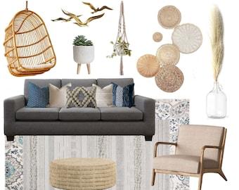 CUSTOM E-DESIGN | Boho Coastal Living Room | Eco-Conscious E-Design | Sustainable Online Interior Design | Moodboard + Eco-Friendly Products