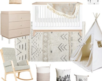 READY-MADE E-DESIGN | Neutral Woodland Nursery | Eco-Conscious E-Design | Sustainable Online Interior Design | Moodboard + Eco-Products