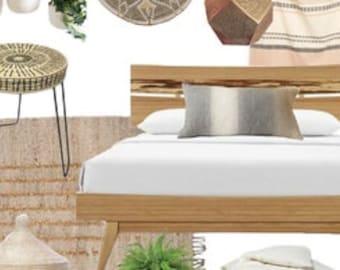 CUSTOM E-DESIGN | Bohemian Bedroom | Eco-Conscious E-Design | Sustainable Online Interior Design | Moodboard + Eco-Friendly Products