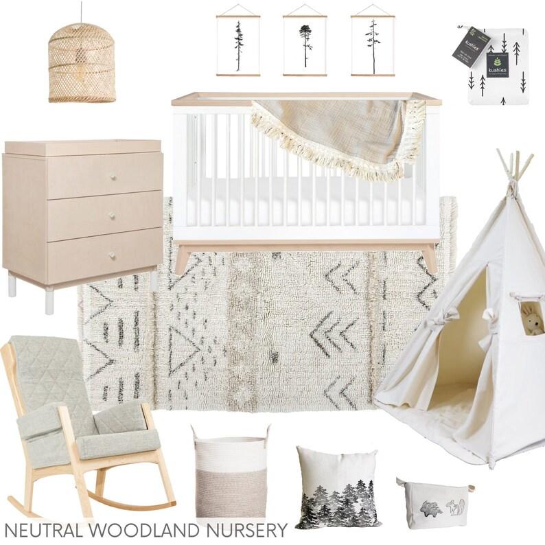 READY-MADE E-DESIGN  Neutral Woodland Nursery  Eco-Conscious image 1