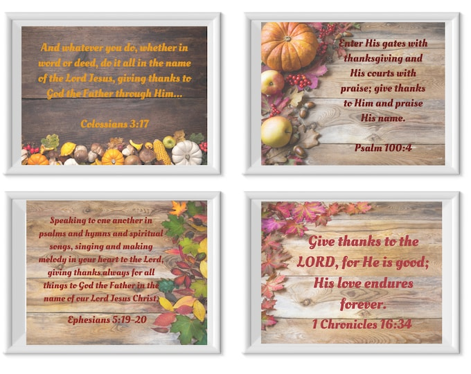 Featured listing image: Thanksgiving Printables set of 4 Scriptures to celebrate Thanksgiving and the blessings God has for us during this Harvest Season.