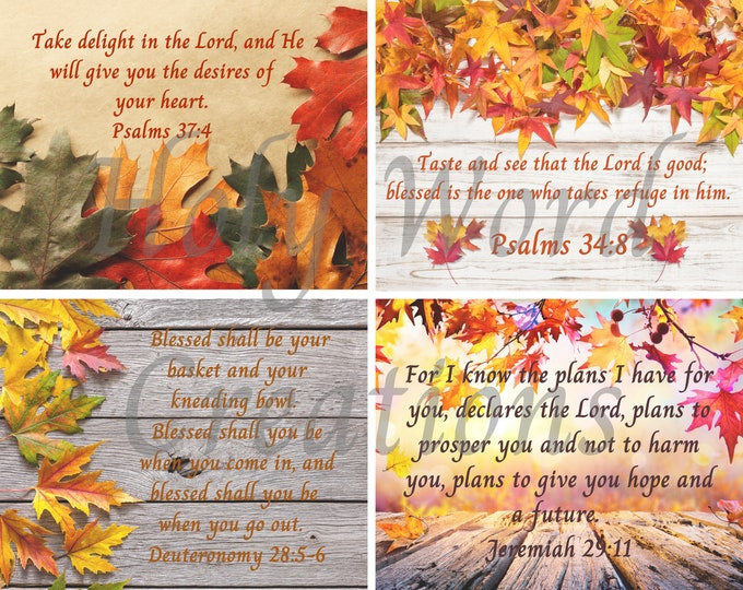 Featured listing image: fall colors download,Printable scripture,set of 4 download,downloadable scripture,scripture wall decor set,scripture prints,verse printable