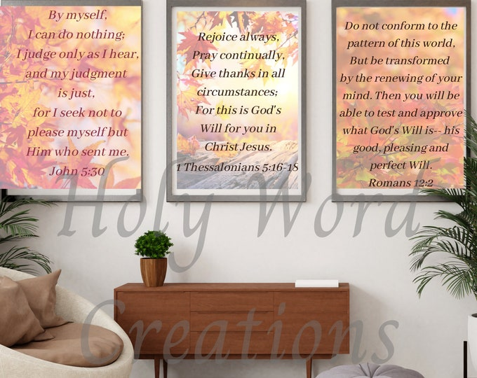 Featured listing image: fall colors download,printable scripture,set of 3 download,downloadable scripture,scripture wall decor set,scripture prints,verse printable
