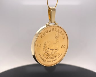 Necklace Coin frame for a Krugerrand, or a coin of your choice