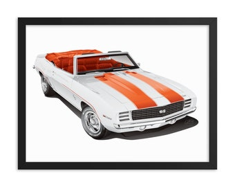 """Framed Camaro 18"""" X 24"""" Poster - 1969 Camaro Pace Car - 18"""" X 24"""" Framed Museum-Quality Poster"""