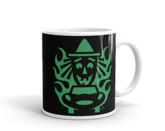 Halloween Mug - Hot Rod Halloween Witch - 11oz Glossy Mug