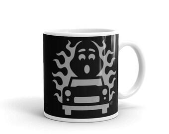 Halloween Mug - Hot Rod Halloween Ghost - 11oz Glossy Mug