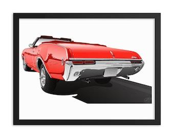 """Framed Cutlass 18"""" X 24"""" Poster - 1968 Cutlass Convertible - 18"""" X 24"""" Framed Museum-Quality Poster"""