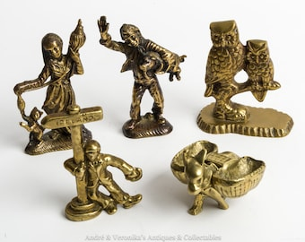 5 Vintage IRISH Brass Miniature Ornaments, Figurines Boy with Pig, Girl with Cat, Owls, Donkey / Ass Turf Baskets, Drunk Man, Collectables