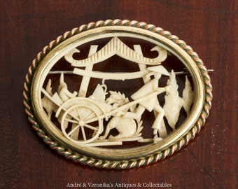Vintage Depose France Celluloid Faux Ivory BROOCH copper and brass frame Oriental Chinese Scene Rickshaw Antique Carved French