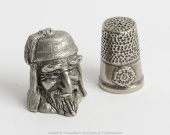 Vintage English Pewter Thimbles (2) FAGIN and English Rose and Crest Motif Oliver Twist Charles Dickens character Head