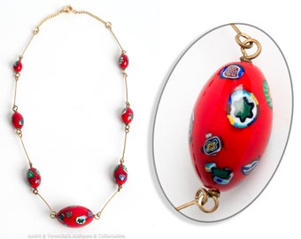 Millefiori Vintage Murano GLASS BEAD Necklace Red with flower motif lampwork Gold