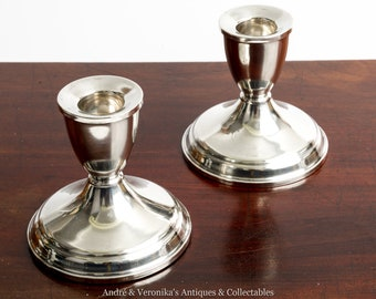 Vintage Sterling Silver Pair of Candlesticks Duchin Creation Mid Century Weighted Candle Holders Sticks