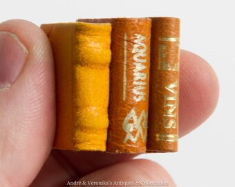 Vintage 3 Miniature Leather bound Books Tiny Real Books Wines of France and Aquarius Star Sign Blank notebook Doll House Size