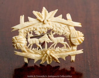 Antique Carved Stag Horn Brooch with two deer in woodland scene Pin badge hand made