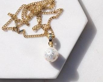18k Gold Diamond Encrusted White South Sea Pearl Pendant