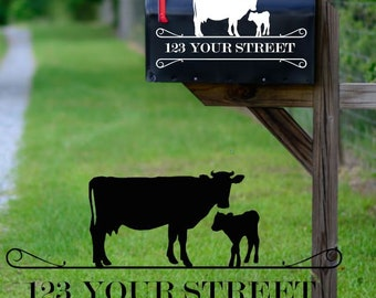 Cow & Calf Mailbox Vinyl Decal (set of 2 - one for each side of mailbox)