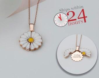 Custom Engraved Necklace, Hidden Message Necklace, Personalized Daisy Necklace, Custom Name Necklace, Personalized Gift, Gift for Mum