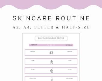 PRINTABLE Skincare Routine   Daily Skin Care Routine Printable, Self Care Planner, Morning Routine, Night Routine, Skin Care Template