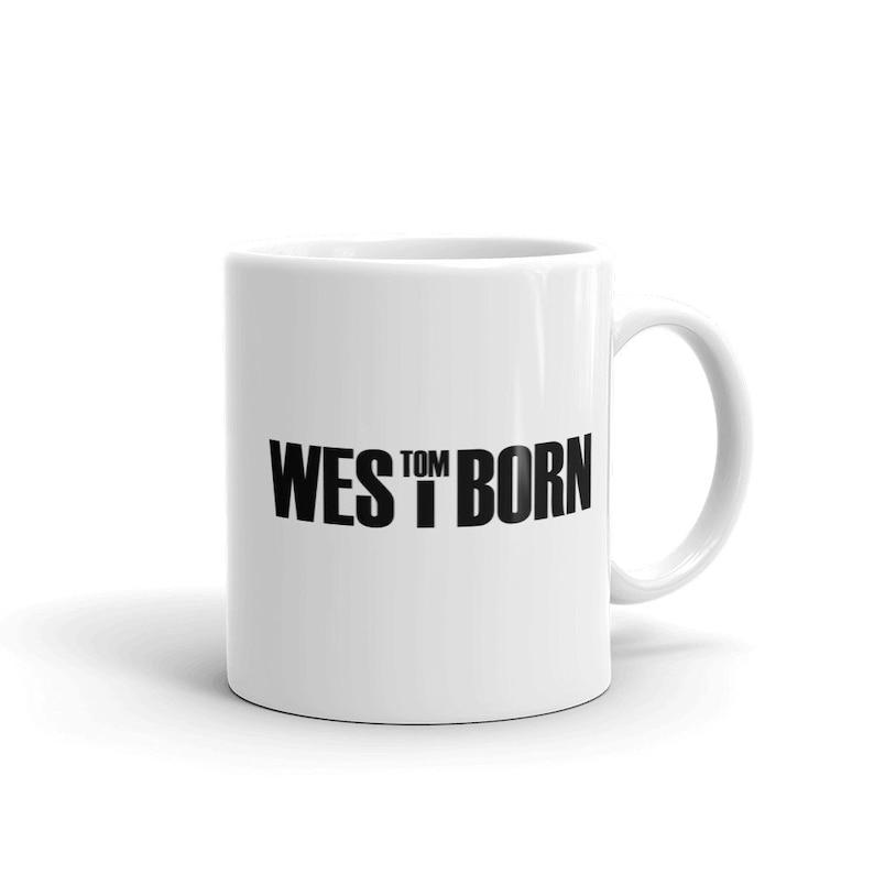 White glossy mug with Tom Westborn logo image 0
