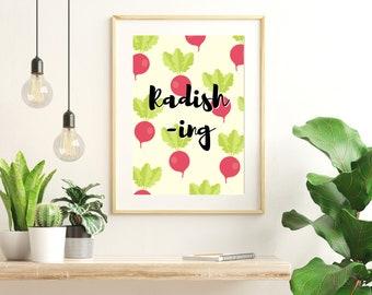 Radish-ing Print | Vegetable Wall Art | Food Pun | Kitchen Printable | Colourful Bold Poster | Quality Digital Print | DIGITAL DOWNLOAD