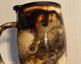 Coffee Swirl Thermal Tumbler Handmade